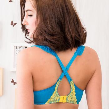 【波曼妮亞】螢光炫波-爆乳無痕螢光色‧加厚胸罩效果激驚豔內衣(藍)
