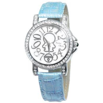 哆啦A夢流線設計晶鑽皮錶