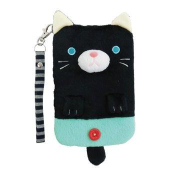 【UNIQUE】動物樂園毛絨手機提袋 小黑貓