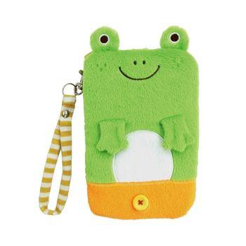 【UNIQUE】動物樂園毛絨手機提袋 小蛙君