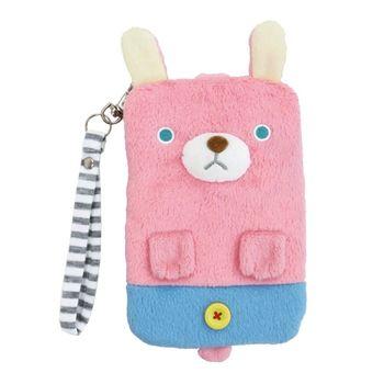 【UNIQUE】動物樂園毛絨手機提袋 粉紅兔