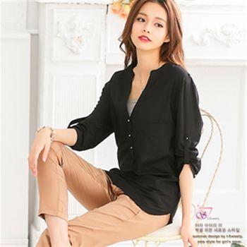 【I-Sweety中大碼】0421顯瘦立領長版反摺袖襯衫(三色)