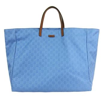 GUCCI 尼龍LOGO印紋托特包(大/水藍)286198