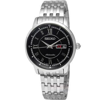 SEIKO‧精工★贈皮錶帶 簡約日本製機械腕錶_黑 4R36-00Y0D