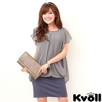 【KVOLL大尺碼】灰色雪紡荷葉袖拼接洋裝JL-2185