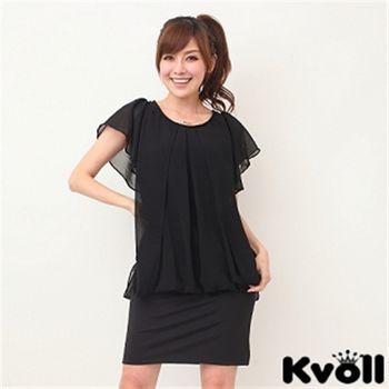 【KVOLL大尺碼】黑色雪紡荷葉袖拼接洋裝JL-2185