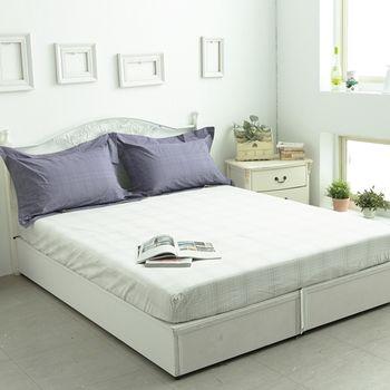【KOSNEY】 品味白 頂級色織緹花精梳棉雙人三件式枕套+床包組