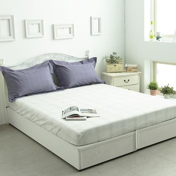 【KOSNEY】 品味白 頂級色織緹花精梳棉特大三件式枕套+床包組