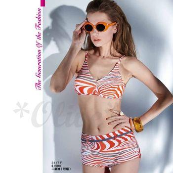 【沙麗品牌】台灣製時尚桔色豹紋兩件式比基尼泳裝(現貨+預購)