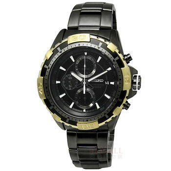 SEIKO ★贈皮錶帶Criteria‧轉盤黑鋼腕錶-金 / 7T92-0LK0K