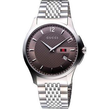 GUCCI 格紋薄型時尚腕錶-咖啡/銀 YA126310