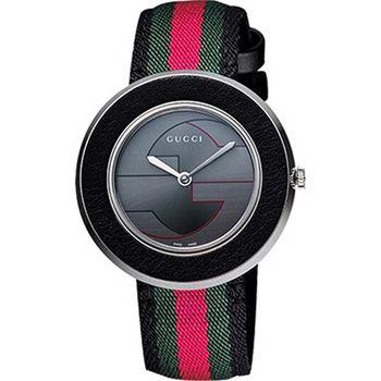 GUCCI G&G時尚女錶-灰x綠紅綠版 YA129444