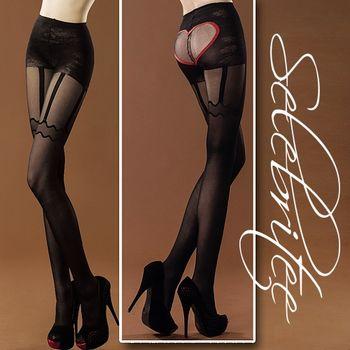 薇珍妮  美國selebritee 吊帶愛心造型褲襪2106 黑