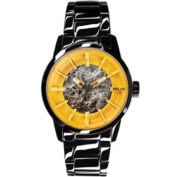 Relax馬卡龍時尚機械腕錶-黃xIP黑 RT-38-22