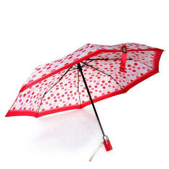 COACH 新款 粉色小花塗鴉自動開合晴雨傘 (紅色)