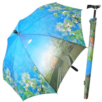 阿里山櫻花風情自動拐杖傘+素色三折傘超值2入組
