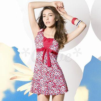 【梅林品牌】新款花朵圖騰二件式連身裙泳裝(現貨+預購)