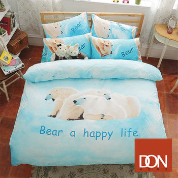 【DON】快樂一家蜜絲絨雙人四件式兩用被床包組