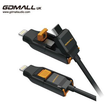 GDMALL iPhone 5、6(PLUS) + MICRO USB 二合一傳輸充電線(黑橘)