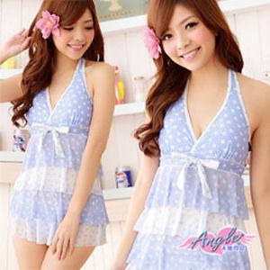 【天使霓裳】輕柔沙灘 兩件式連身裙泳衣SQ3018淺藍