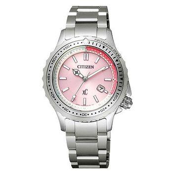 CITIZENxC甜心女孩光動能時尚腕錶-粉銀EP6020-51X