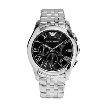 ARMANI Classic 羅馬計時腕錶-黑x銀AR1786