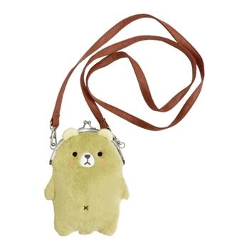 【UNIQUE】動物樂園毛絨珠扣手機常用背包 小棕熊