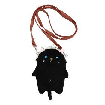 【UNIQUE】動物樂園毛絨珠扣手機常用背包 小黑貓