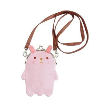 【UNIQUE】動物樂園毛絨珠扣手機常用背包 粉紅兔