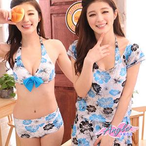 【天使霓裳】花漾夏日扶桑花三件式鋼圈比基尼泳衣SQ13071淺藍