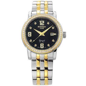 【BOSSWAY】原創時計真鑽機械錶(黑/40mm)