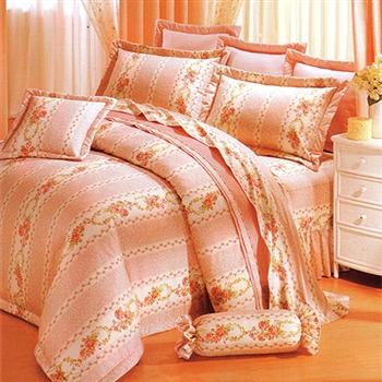【KOSNEY】浪漫花語活性精梳棉加大六件式床罩組-台灣製
