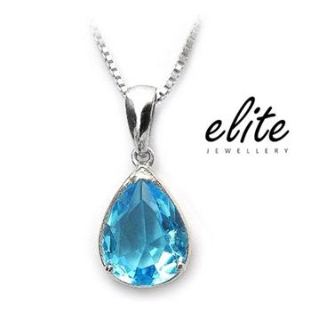 Elite伊麗珠寶 925純銀項鍊 - 天使之淚【藍水晶】