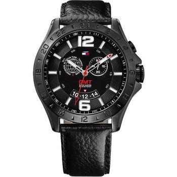 Tommy Hilfiger旗鑑雙時區時尚腕錶-黑M1790972