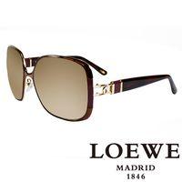 LOEWE 西班牙皇室品牌羅威金屬皮革太陽眼鏡(紫) SLW405