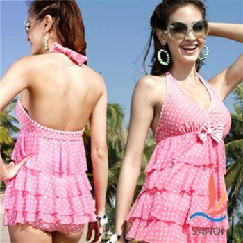 【SANQI三奇】粉色點點兩件式蛋糕裙泳衣 SQ13002粉