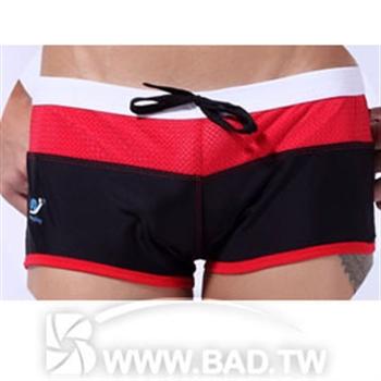 【壞男愛世界】型男網布環繞性感款四角泳褲 黑紅