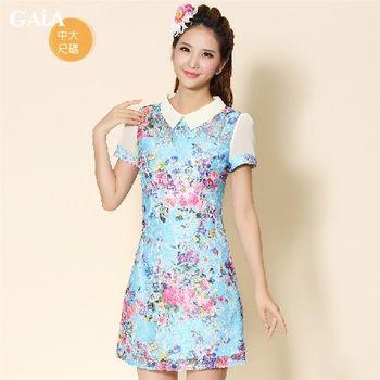 【GAIA】優雅寫意印花修身顯瘦洋裝