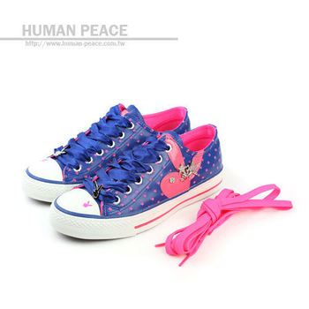 PLAYBOY 兔子LOGO緞帶鞋帶 星星休閒鞋 藍 女no752