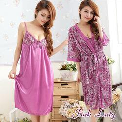 PINK LADY衣香華服野味豹紋二件套睡衣(玫紅)238