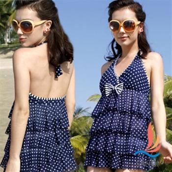 【SANQI三奇】藍色點點兩件式蛋糕裙泳衣SQ13002藍