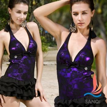 【SANQI三奇】俏麗一件式連身比基尼泳衣(共2色)SQ13016