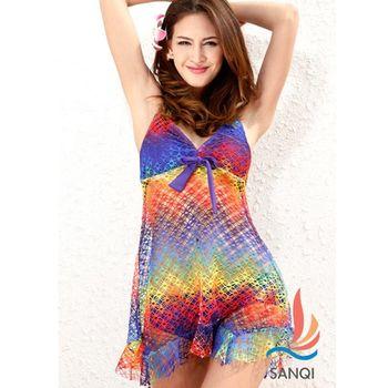 【SANQI三奇】點亮視覺兩件式連身裙泳裝(共3色)SQ13050