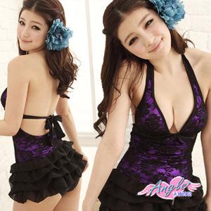 【天使霓裳】夏日玫瑰園一件式連身泳裝比基尼SQ13016紫
