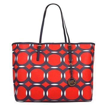MICHAEL KORS 防刮皮革幾何圖形雙色托特包(紅)