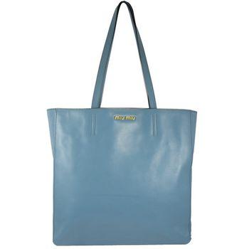 【MIU MIU】R1914S浮雕LOGO超輕全皮革托特包(淡藍)
