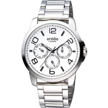 LICORNE 俐落時光日曆時尚腕錶-白/銀LT036MWWI