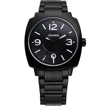 LICORNE曙光系列 時尚腕錶-黑/白字LI016BBBA-W