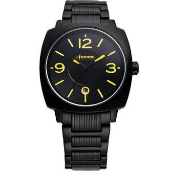 LICORNE曙光系列 時尚腕錶-黑/黃字LI016BBBA-Y