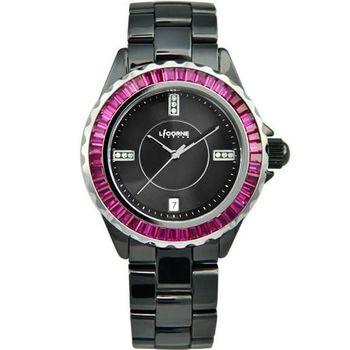 LICORNE天使情人晶鑽陶瓷腕錶-黑LI020BBBI-SR